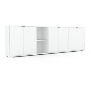 Sideboard Weiß - Designer-Sideboard: Türen in Weiß - Hochwertige Materialien - 265 x 81 x 35 cm, Individuell konfigurierbar
