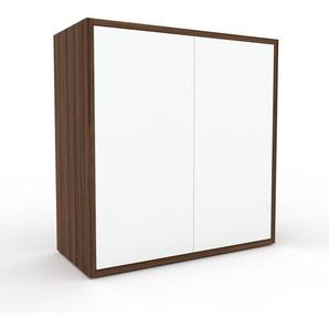 Sideboard Nussbaum - Designer-Sideboard: Türen in Weiß - Hochwertige Materialien - 77 x 80 x 35 cm, Individuell konfigurierbar