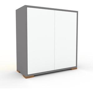 Sideboard Grau - Designer-Sideboard: Türen in Weiß - Hochwertige Materialien - 77 x 81 x 35 cm, Individuell konfigurierbar