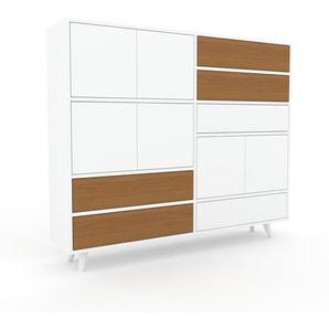 Sideboard Weiß - Sideboard: Schubladen in Eiche & Türen in Weiß - Hochwertige Materialien - 152 x 130 x 35 cm, konfigurierbar