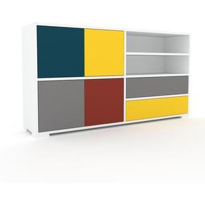 Sideboard Weiß - Sideboard: Schubladen in Gelb & Türen in Grau - Hochwertige Materialien - 152 x 81 x 35 cm, konfigurierbar