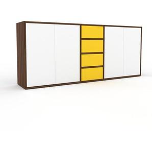 Sideboard Nussbaum - Sideboard: Schubladen in Gelb & Türen in Weiß - Hochwertige Materialien - 190 x 80 x 35 cm, konfigurierbar