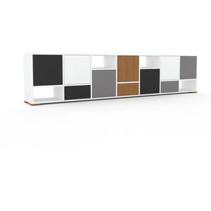 Sideboard Weiß - Sideboard: Schubladen in Anthrazit & Türen in Anthrazit - Hochwertige Materialien - 272 x 62 x 35 cm, konfigurierbar