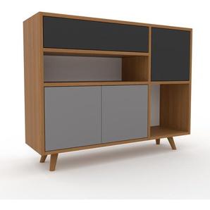 Sideboard Eiche - Sideboard: Schubladen in Anthrazit & Türen in Grau - Hochwertige Materialien - 116 x 91 x 35 cm, konfigurierbar