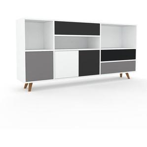 Sideboard Weiß - Sideboard: Schubladen in Anthrazit & Türen in Grau - Hochwertige Materialien - 190 x 91 x 35 cm, konfigurierbar