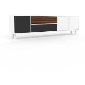 Sideboard Weiß - Sideboard: Schubladen in Anthrazit & Türen in Weiß - Hochwertige Materialien - 193 x 53 x 35 cm, konfigurierbar