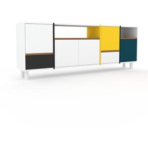 Sideboard Weiß - Sideboard: Schubladen in Anthrazit & Türen in Weiß - Hochwertige Materialien - 193 x 72 x 35 cm, konfigurierbar