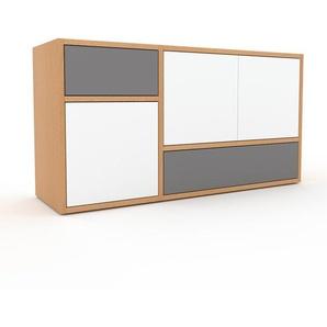 Sideboard Buche - Sideboard: Schubladen in Grau & Türen in Weiß - Hochwertige Materialien - 116 x 61 x 35 cm, konfigurierbar