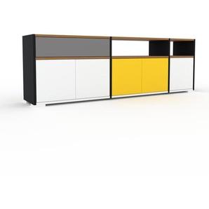 Sideboard Schwarz - Sideboard: Schubladen in Grau & Türen in Weiß - Hochwertige Materialien - 190 x 62 x 35 cm, konfigurierbar