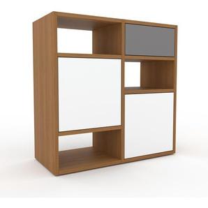 Sideboard Eiche - Sideboard: Schubladen in Grau & Türen in Weiß - Hochwertige Materialien - 79 x 80 x 35 cm, konfigurierbar