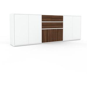 Sideboard Weiß - Sideboard: Schubladen in Nussbaum & Türen in Weiß - Hochwertige Materialien - 226 x 80 x 35 cm, konfigurierbar