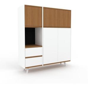 Sideboard Weiß - Sideboard: Schubladen in Weiß & Türen in Eiche - Hochwertige Materialien - 116 x 130 x 35 cm, konfigurierbar