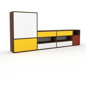 Sideboard Nussbaum - Sideboard: Schubladen in Weiß & Türen in Gelb - Hochwertige Materialien - 265 x 118 x 35 cm, konfigurierbar