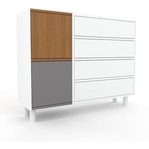 Sideboard Weiß - Sideboard: Schubladen in Weiß & Türen in Eiche - Hochwertige Materialien - 116 x 91 x 35 cm, konfigurierbar