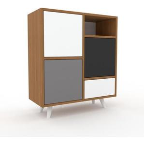 Sideboard Eiche - Sideboard: Schubladen in Weiß & Türen in Grau - Hochwertige Materialien - 79 x 91 x 35 cm, konfigurierbar