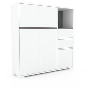 Sideboard Weiß - Sideboard: Schubladen in Weiß & Türen in Weiß - Hochwertige Materialien - 116 x 120 x 35 cm, konfigurierbar