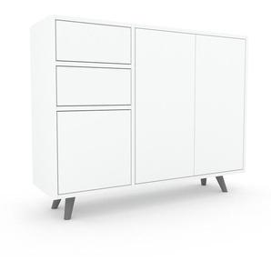 Sideboard Weiß - Sideboard: Schubladen in Weiß & Türen in Weiß - Hochwertige Materialien - 116 x 91 x 35 cm, konfigurierbar