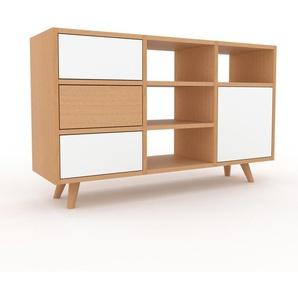 Sideboard Buche - Sideboard: Schubladen in Weiß & Türen in Weiß - Hochwertige Materialien - 118 x 72 x 35 cm, konfigurierbar