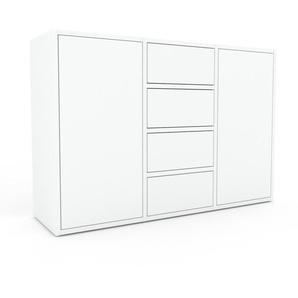 Sideboard Weiß - Sideboard: Schubladen in Weiß & Türen in Weiß - Hochwertige Materialien - 118 x 80 x 35 cm, konfigurierbar
