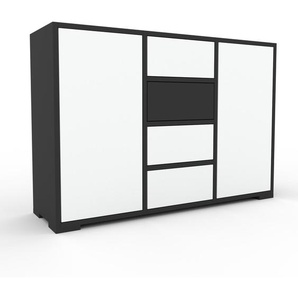 Sideboard Anthrazit - Sideboard: Schubladen in Weiß & Türen in Weiß - Hochwertige Materialien - 118 x 81 x 35 cm, konfigurierbar