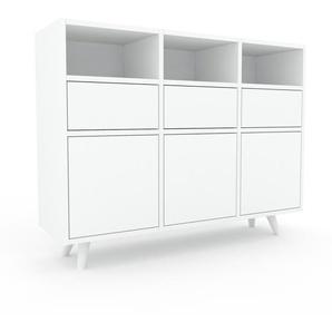 Sideboard Weiß - Sideboard: Schubladen in Weiß & Türen in Weiß - Hochwertige Materialien - 118 x 91 x 35 cm, konfigurierbar