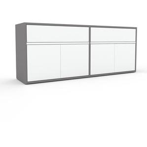 Sideboard Grau - Sideboard: Schubladen in Weiß & Türen in Weiß - Hochwertige Materialien - 152 x 61 x 35 cm, konfigurierbar