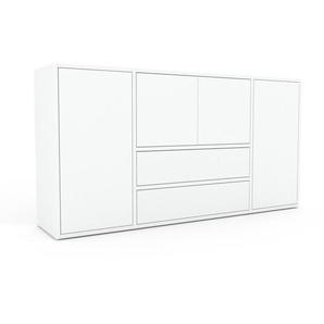 Sideboard Weiß - Sideboard: Schubladen in Weiß & Türen in Weiß - Hochwertige Materialien - 154 x 80 x 35 cm, konfigurierbar