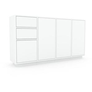 Sideboard Weiß - Sideboard: Schubladen in Weiß & Türen in Weiß - Hochwertige Materialien - 156 x 85 x 35 cm, konfigurierbar