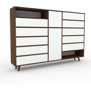Sideboard Nussbaum - Sideboard: Schubladen in Weiß & Türen in Weiß - Hochwertige Materialien - 190 x 130 x 35 cm, konfigurierbar