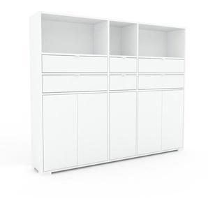 Sideboard Weiß - Sideboard: Schubladen in Weiß & Türen in Weiß - Hochwertige Materialien - 190 x 158 x 35 cm, konfigurierbar