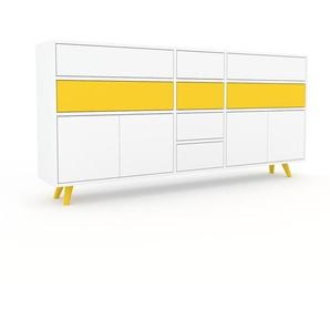 Sideboard Weiß - Sideboard: Schubladen in Weiß & Türen in Weiß - Hochwertige Materialien - 190 x 91 x 35 cm, konfigurierbar