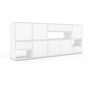 Sideboard Weiß - Sideboard: Schubladen in Weiß & Türen in Weiß - Hochwertige Materialien - 193 x 80 x 35 cm, konfigurierbar