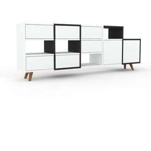 Sideboard Anthrazit - Sideboard: Schubladen in Weiß & Türen in Weiß - Hochwertige Materialien - 195 x 72 x 35 cm, konfigurierbar