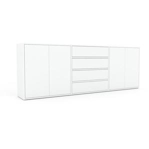 Sideboard Weiß - Sideboard: Schubladen in Weiß & Türen in Weiß - Hochwertige Materialien - 226 x 80 x 35 cm, konfigurierbar