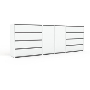 Sideboard Weiß - Sideboard: Schubladen in Weiß & Türen in Weiß - Hochwertige Materialien - 229 x 80 x 35 cm, konfigurierbar