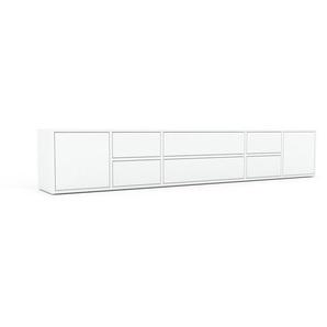 Sideboard Weiß - Sideboard: Schubladen in Weiß & Türen in Weiß - Hochwertige Materialien - 231 x 41 x 35 cm, konfigurierbar