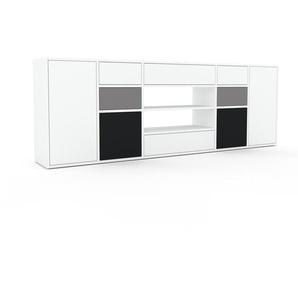 Sideboard Weiß - Sideboard: Schubladen in Weiß & Türen in Weiß - Hochwertige Materialien - 231 x 80 x 35 cm, konfigurierbar