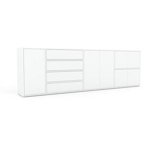 Sideboard Weiß - Sideboard: Schubladen in Weiß & Türen in Weiß - Hochwertige Materialien - 265 x 80 x 35 cm, konfigurierbar