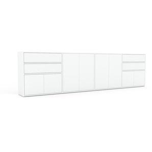 Sideboard Weiß - Sideboard: Schubladen in Weiß & Türen in Weiß - Hochwertige Materialien - 301 x 80 x 35 cm, konfigurierbar
