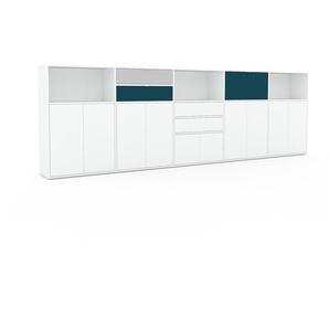 Sideboard Weiß - Sideboard: Schubladen in Weiß & Türen in Weiß - Hochwertige Materialien - 375 x 118 x 35 cm, konfigurierbar
