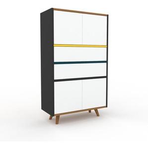 Sideboard Anthrazit - Sideboard: Schubladen in Weiß & Türen in Weiß - Hochwertige Materialien - 77 x 130 x 35 cm, konfigurierbar