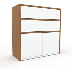 Sideboard Eiche - Sideboard: Schubladen in Weiß & Türen in Weiß - Hochwertige Materialien - 77 x 80 x 35 cm, konfigurierbar
