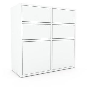 Sideboard Weiß - Sideboard: Schubladen in Weiß & Türen in Weiß - Hochwertige Materialien - 79 x 80 x 35 cm, konfigurierbar