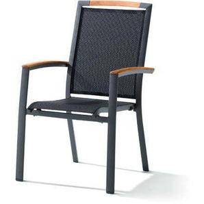 Sieger Catena Stapelsessel Aluminium/Textilene Eisengrau/Grau