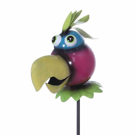 Siena Garden 365-009 Gartenstecker Papagei, Metall, 30 x 12 x 123 cm, bunt (1 Stück)