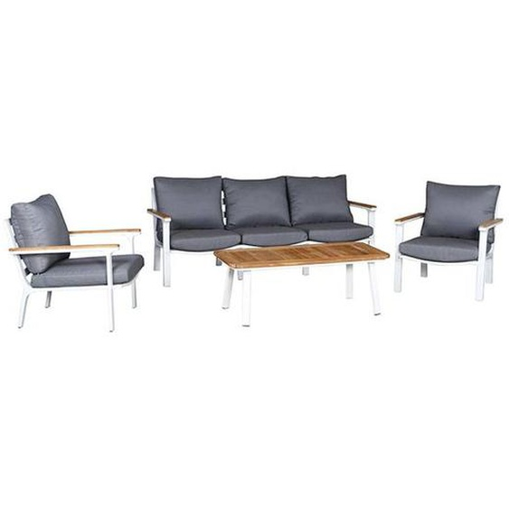 Siena Garden Alvito+ Sofagruppe 4-teilig Aluminium/Polyester Weiß|Braun|Hellgrau