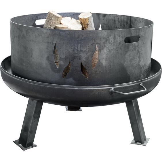 SIENA GARDEN Feuerschalenaufsatz XXL aus Stahl Silber/Anthrazit 96 cm