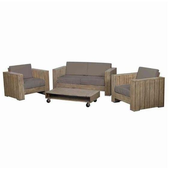 Siena Garden Halmstad 4-teilig Sofagruppe Akazie/Polster Braun|Taupe