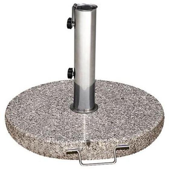 Siena Garden Schirmständer Granit 40 kg rund mit Griff + Rollen Hellgrau