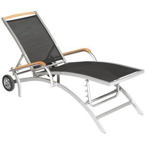 Siena Rollliege mit Lignoart-Applikationen, Fuß- und Rückenteil mehrfach verstellbar, schwarz